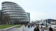Stock Video Footage of People walking near City Hall, Greater London Authority, Mayor, Thames River