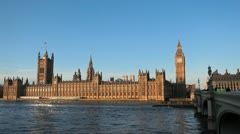 Westminster Parliament Building Big Ben Clock Tower London, England Thames River Stock Footage