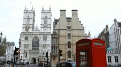 Westminster Abbey in London, London Red Telephone Box, England, UK Stock Footage