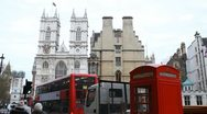 Stock Video Footage of London Red Telephone Box near Westminster Abbey in London, England, UK