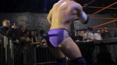 2 Wrestlers Brawling Outside the Ring HD - stock footage