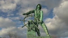Massachusetts Gloucester fisherman statue front view timelapse sx Stock Footage