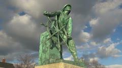 Massachusetts Gloucester fisherman statue timelapse sx Stock Footage