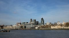 London Cityscape Skyline, Thames River, Swiss Re, Gherkin, St Mary Axe - stock footage