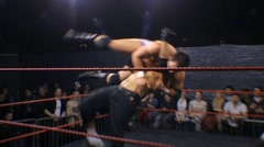 Pro Wrestling Match Sequence - Fallaway Slam & Flapjack HD - stock footage