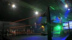 Pro Wrestling Ring & Stage Lights 3 & Wrestler Entrance HD - stock footage