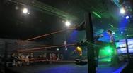 Pro Wrestling Ring & Stage Lights 3 & Wrestler Entrance HD Stock Footage