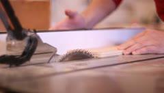 Cutting board on table saw Stock Footage