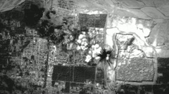 """Night Vision"" night carpet bombing raid on enemy positions. Stock Footage"