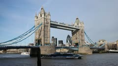 Tower Bridge in London, England, Thames River, Boat, Ship - stock footage
