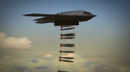 Stock Video Footage of B-2 Spirit Stealth Bomber releases smart bombs on enemy positions.
