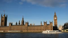 Boat Westminster Bridge Big Ben London, England Thames River Parliament Building Stock Footage