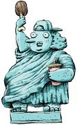 Overweight Liberty - stock illustration