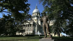 Illinois statehouse Springfield statue of miner Stock Footage