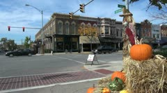 Indiana Goshen street with pumpkin sx - stock footage