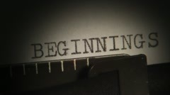 AND SO ON. BEGINNINGS. Typewriting. Stock Footage