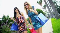 Beautiful Girls on a Shopping Day Rodeo Drive Stock Footage