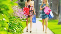 Beautiful Girls on a Shopping Day Stock Footage