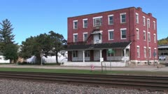 Wisconsin Cassville with brick building and tracks sx Stock Footage