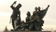 Bronze Statue Pioneers 4 Stock Footage
