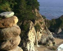 Zen rocks against waterfall V2 - PAL Stock Footage