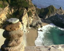 Zen rocks against waterfall V1 - PAL - stock footage