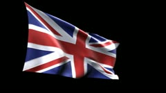 British flag with alpha matte - stock footage
