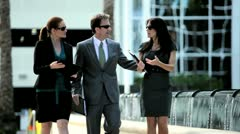 Business People Meeting Downtown - stock footage