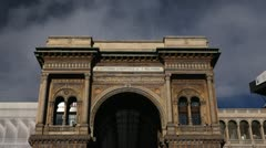 Vittorio Emanuele II Gallery (Galleria), Duomo Square (Piazza del Duomo), Italy Stock Footage