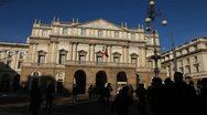 La Scala, Teatro alla Scala, Opera House in Milan, Italy, Traffic Street Stock Footage