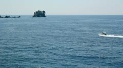 Luxury Yacht Speeding Across Water Stock Footage