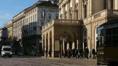 La Scala, Teatro alla Scala, Opera House in Milan, Italy, Traffic Street Stock Footage
