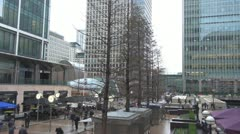 People walking in business center,Canary Wharf, London Stock Footage
