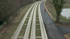 Guided Busway and Cycle Route in Cambridge, UK Stock Footage