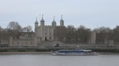 Timelapse ferry cruise sail Tower of London touristic icon Stock Footage