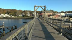 Maine Boothbay Harbor board walk sx Stock Footage