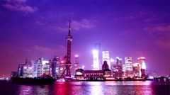 Beautiful Shanghai Pudong skyline at dusk. time lapse - stock footage