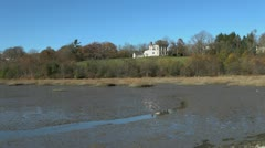 Maine Wiscasset mudflat and Castle Tucker sx Stock Footage