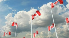 Canadian Flags Slo-Mo and Time-Lapse Stock Footage