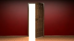 Opening door to white background Stock Footage