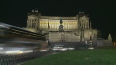 National Monument to Victor Emmanuel II timelapse in Rome at night Stock Footage