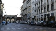 Beautiful Old Tram via Manzoni in Milan, Italy Stock Footage