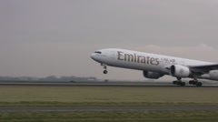 Emirates plane taking off Stock Footage