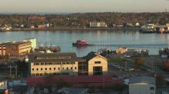 Maine Portland harbor view with tug boat sx Stock Footage