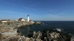 Maine Portland Head lighthouse cx Stock Footage