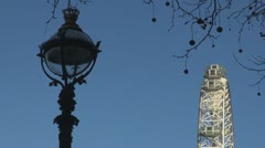 Details of London Eye with public lamp Stock Footage