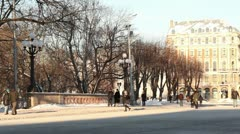 Winter city park people walking ProRes Stock Footage