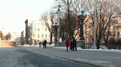 Winter city centre people walking ProRes Stock Footage