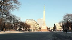 People walking at freedom monument ProRes Stock Footage