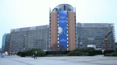 European Commission Building in Brussels, Belgium Stock Footage